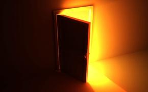 Обои свет, желтый, дверь, 157