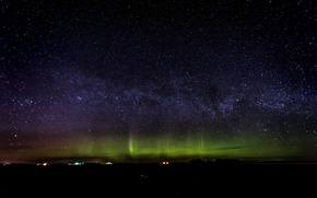 Картинка космос, звезды, ночь, северное сияние