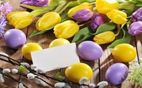 Обои праздник, пасха, тюльпаны, яйца, цветы