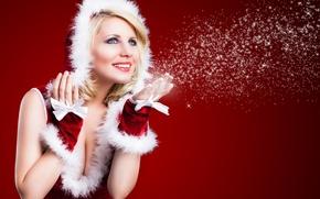 Картинка снег, радость, улыбка, блондинка, снегурочка, голубоглазая