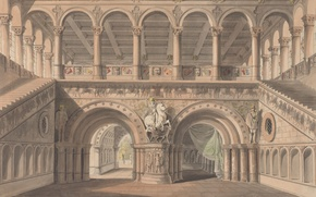 Картинка замок, картина, лестница, колонны, живопись, статуи, painting, Karl Friedrich Schinkel