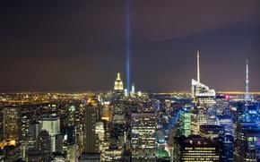 Картинка ночь, огни, память, катастрофа, небоскребы, USA, США, night, new york, WTC, всемирный торговый центр, memory, …