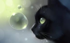 Картинка кошка, кот, пузырьки, черный, голова, арт, профиль, Apofiss