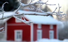 Картинка зима, снег, пейзаж, природа, дом, дерево