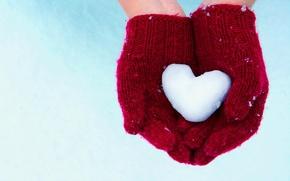 Обои руки, снег, перчатки, сердце
