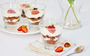 Картинка клубника, крем, десерт, сладкое