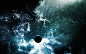 Обои звезды, облака, Планета