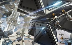 Картинка космос, будущее, фантастика, бой, future, стрельба, лазеры, sci-fi, невесомость, Ender's Game, Enders Game, Игра Эндера, …