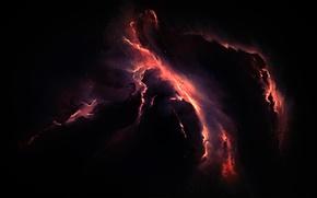 Картинка космос, свет, туманность, огни, пространство, фантастика, узоры, свечение, звёзды, арт, бездна, ответвления