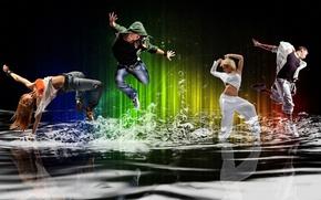 Обои энергия, вода, девушка, брызги, пузыри, движение, люди, настроение, танец, парень, молодежь