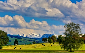 Картинка небо, облака, снег, деревья, горы, дом, холмы, поля