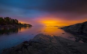 Картинка закат, Норвегия, залив, архипелаг