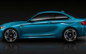 Картинка BMW, Blue, Coupe, Side, View, (2015)