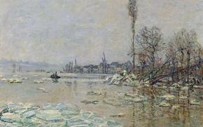 Обои пейзаж, картина, весна, Клод Моне, Вскрытие Льда