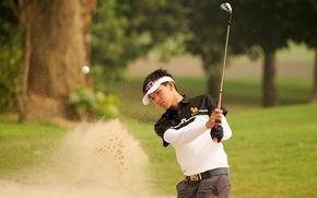 Картинка golf, man, golfer, sand trap