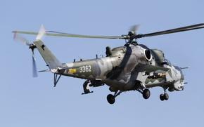 Картинка полет, вертолёт, Ми-35, ударный