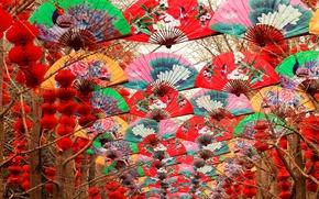 Картинка деревья, веер, Китай, фонарики, Пекин, Храм Неба, праздник Весны