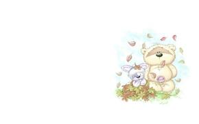 Картинка осень, листья, арт, мишка, зайчик, детская