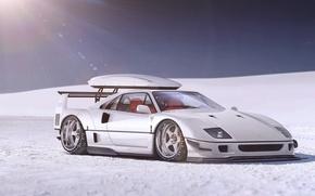 Картинка Ferrari, F40, Front, Snow, White, Supercar, Autemo