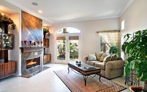 Картинка дизайн, диван, камин, особняк, Design, гостиная, Interior, Living