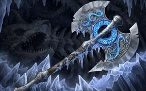 Картинка оружие, кости, холод, топор, арт, лед, секира, пещера
