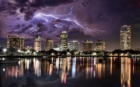 Картинка гроза, небо, ночь, тучи, город, отражение, молния