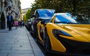 Картинка McLaren, Paris, Car, Sunset, Yellow, People, SuperCar
