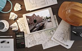 Картинка чертеж, каска, инженер, архитектор