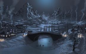 Картинка лед, зима, снег, горы, мост, дети, река, дома, фонари, deviantart, Fel-X
