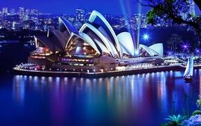 Обои вода, ночь, город, дерево, растения, яхта, театр, Сидней, здание оперного театра в Сиднее