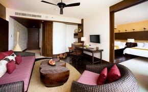 Обои дизайн, комната, диван, мебель, интерьер, кресло, подушки, красные, столик, обстановка