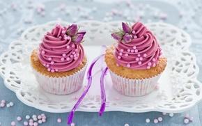 Обои сладости, цветы, выпечка, десерт, сладкое, кексы, ложки, розовый, поднос, Anna Verdina, крем