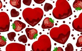 Картинка текстура, клубничка, сердечки, texture, hearts, strawberry