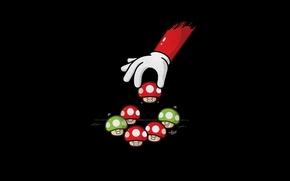 Картинка грибы, рука, минимализм