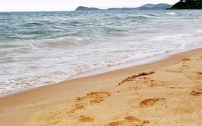 море,голубой, волны, песок обои