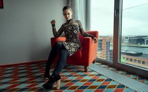 Картинка девушка, кресло, платье, туфли, колготки, girl, Nathan Photography, Tonny Jorgensen, Sarah Salomonsen