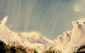 Обои звезды, снег, горы, Обработка, медведи, коллаж, город