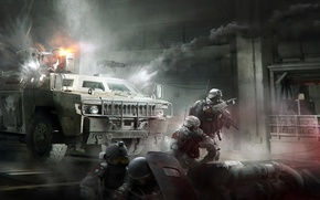 Картинка city, fire, battlefield, skull, flame, gun, game, soldier, chaos, smoke, weapon, war, saw, rifle, mask, ...