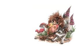 Картинка сердце, сказка, арт, леший, волчонок, детская, подушечка