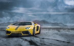 Картинка Lamborghini, Clouds, Front, Snow, Yellow, LP700-4, Aventador, Supercars, Mountains, Wheels, ADV.1, Ligth