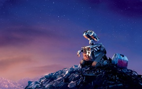 Обои грусть, небо, звезды, мусор, фильм, мультфильм, вечер, wall-e, валли, металлолом
