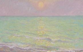 Обои картина, краски, отражение, Theodore Earl Butler, море, Seine-Mar, Sunset at Veules-les-Roses, солнце, морской пейзаж