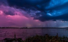 Обои небо, тучи, природа, озеро, молния