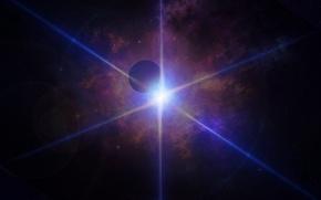 Картинка луч, planet, лучи, свет, голубой свет, планета, lights, light, космос, cosmos