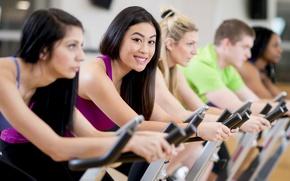 Картинка women, workout, fitness, gym, stationary bicycle