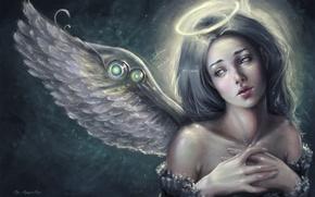 Обои взгляд, крылья, арт, ангел, лицо, нимб, angel, девушка, фантастика