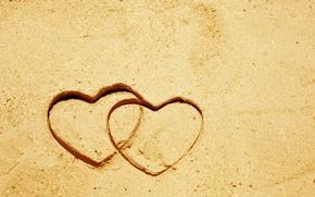 Картинка песок, настроение, сердце, сердечко