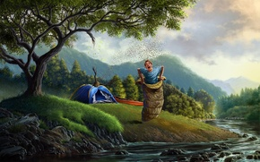 Обои арт, парень, пчёлы, улей, спальный мешок, деревья, палатка, река, лес