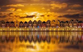Картинка ночь, огни, дома, Нидерланды, Хаутен