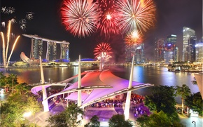Картинка ночь, салют, Сингапур, отель, мегаполис, Singapore, Fireworks, Marina Bay Sands